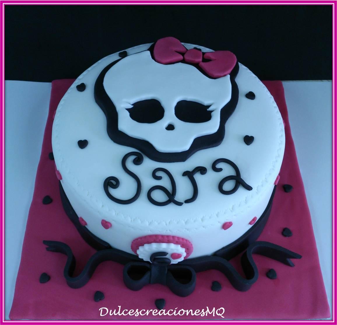 Tarta Pastel Monster High Niña Cumpleaños Aniversario Lazo Negro Fondant Decoración Bizcocho