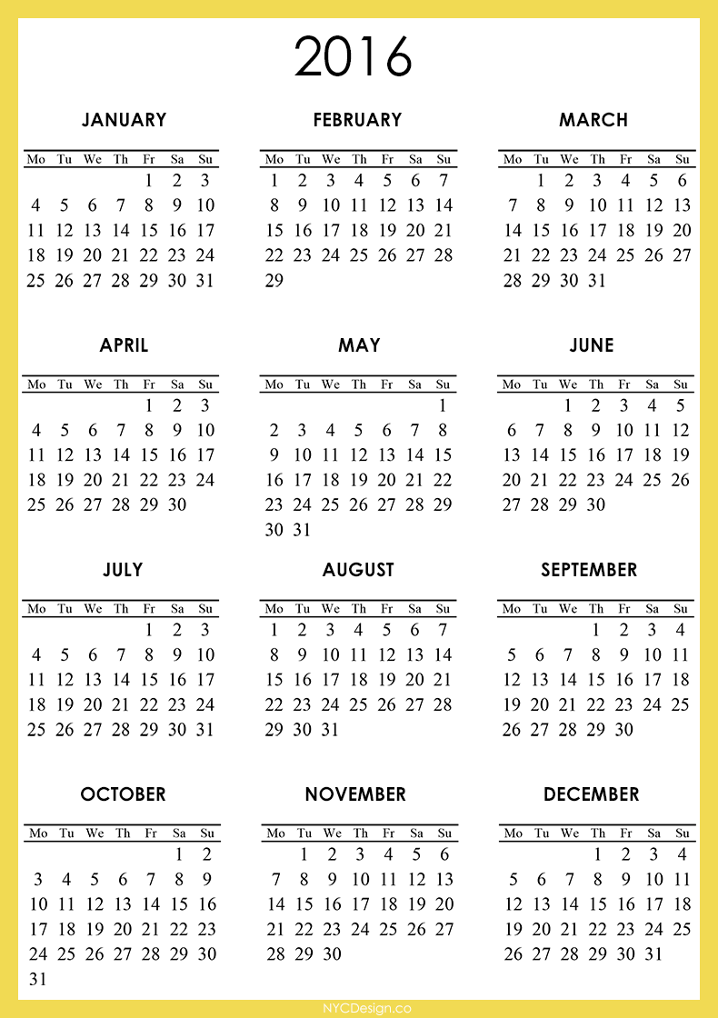 New York, NY: 2016 Calendar - Printable - Free - Orange, Yellow, White ...