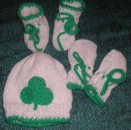 Knitting Galore Lucky Shamrock Baby Set