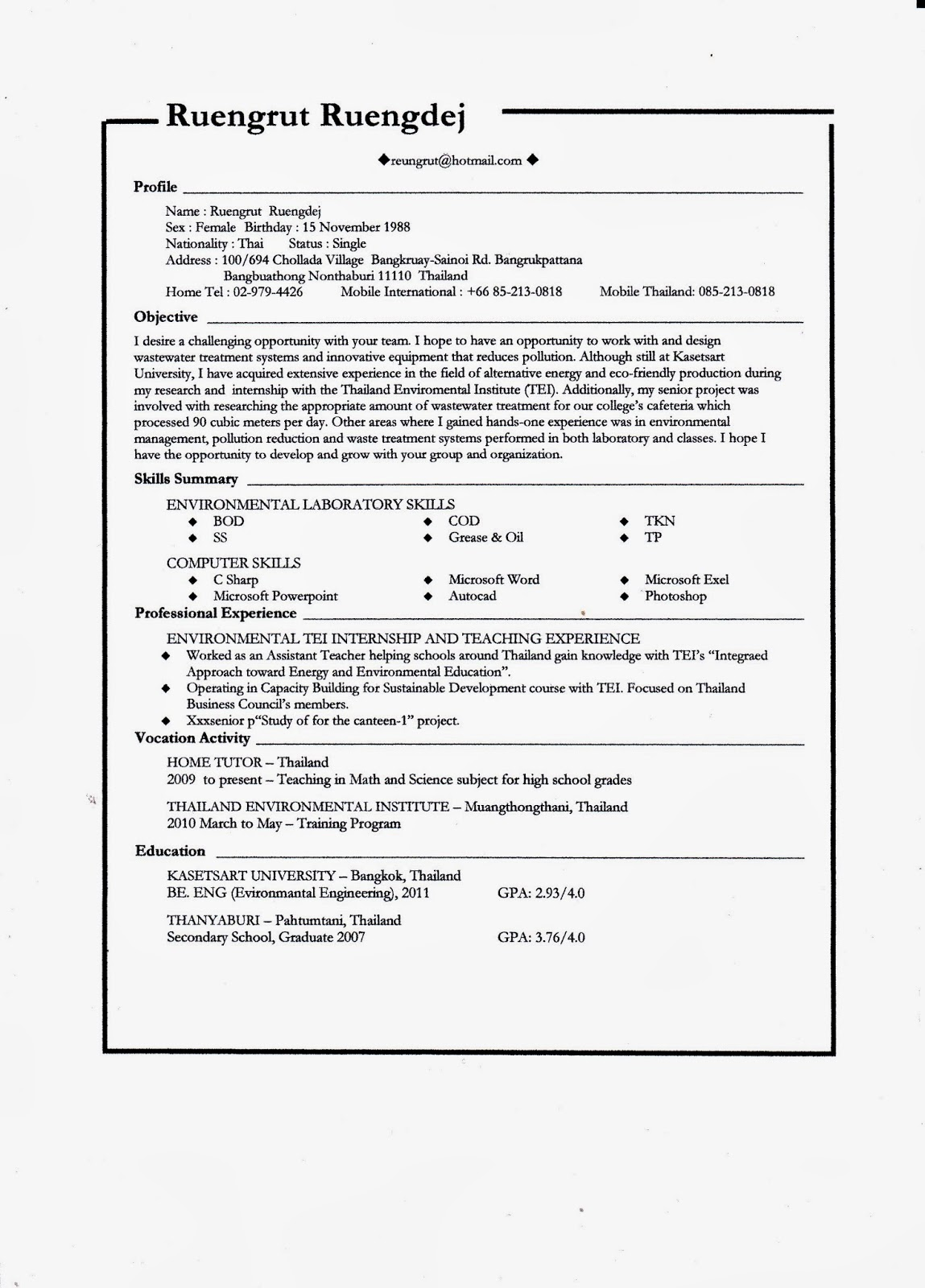 sample resume environmental engineering kasetsart university. Resume Example. Resume CV Cover Letter