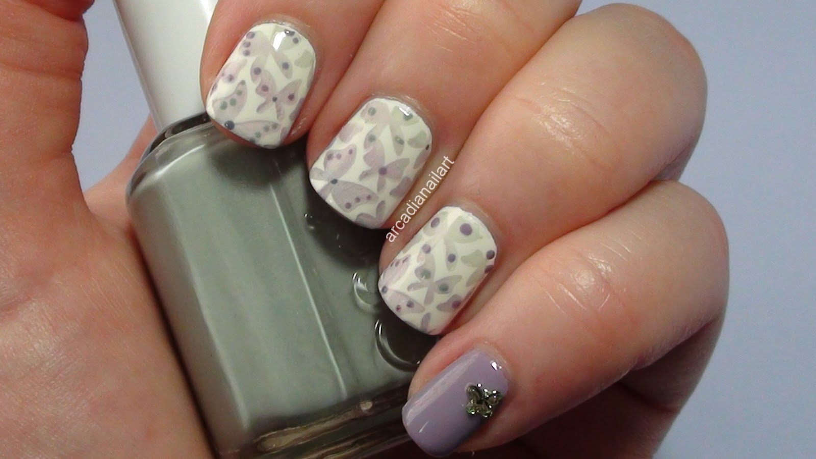 ArcadiaNailArt: Faded Butterflies Stamping Nail Art Tutorial