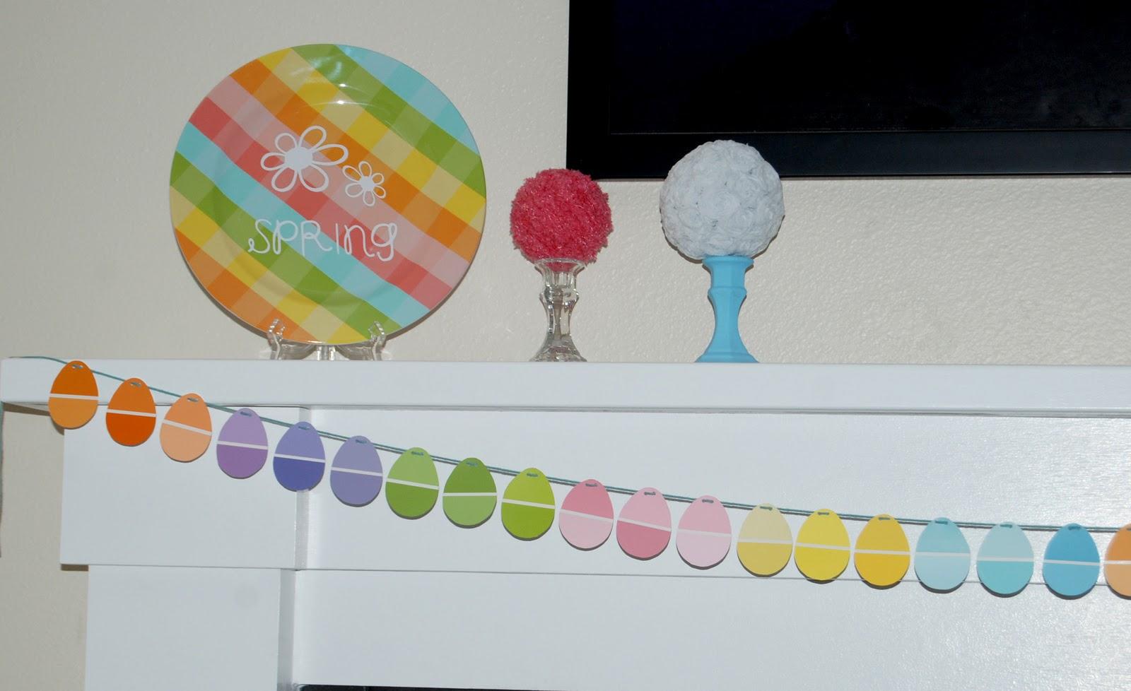 nap time crafts paint chip egg garland. Black Bedroom Furniture Sets. Home Design Ideas