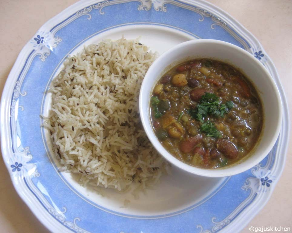 Mix dal gravy served with jeera rice