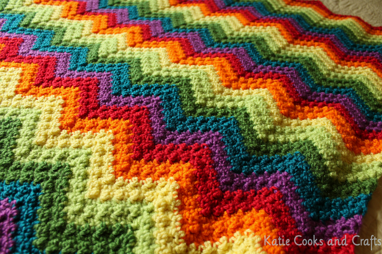 Free Crochet Baby Afghan Edging Patterns : Katie Cooks and Crafts: Rumpled Ripple Rainbow Crochet ...
