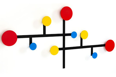 wall-mounted coat rack in bright colors - large