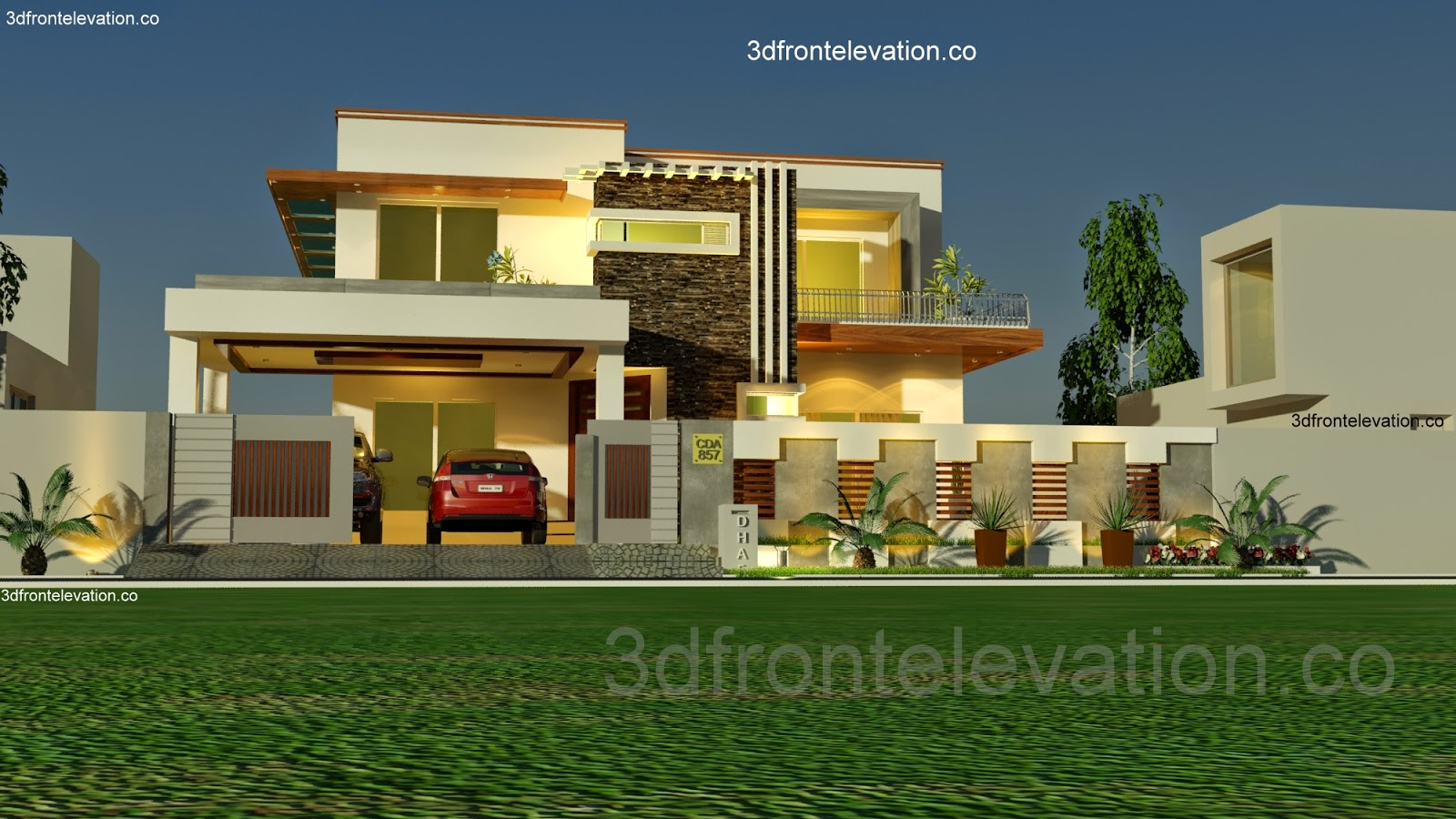 3d front 1 kanal house plan layout 50 39 x 90 for One kanal house plan