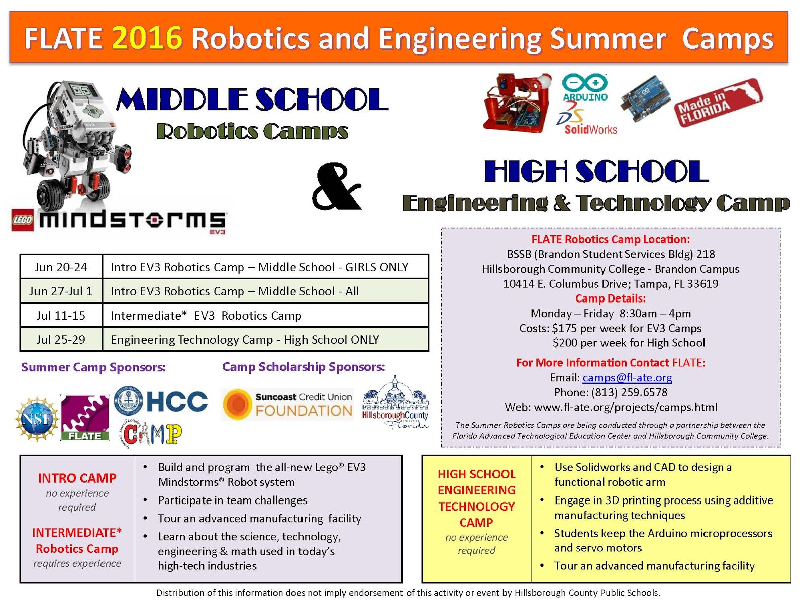 FLATE 2016 Robotics & Engineering Summer Camps