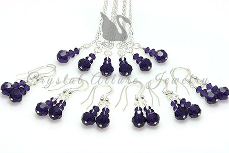 Amanda's Custom Purple Crystal Bridesmaid Jewelry Gift Sets: All 6 Sets