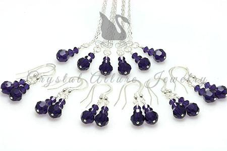Amanda's Custom Purple Crystal Bridesmaid Jewelry Gift Sets: All 6 Sets
