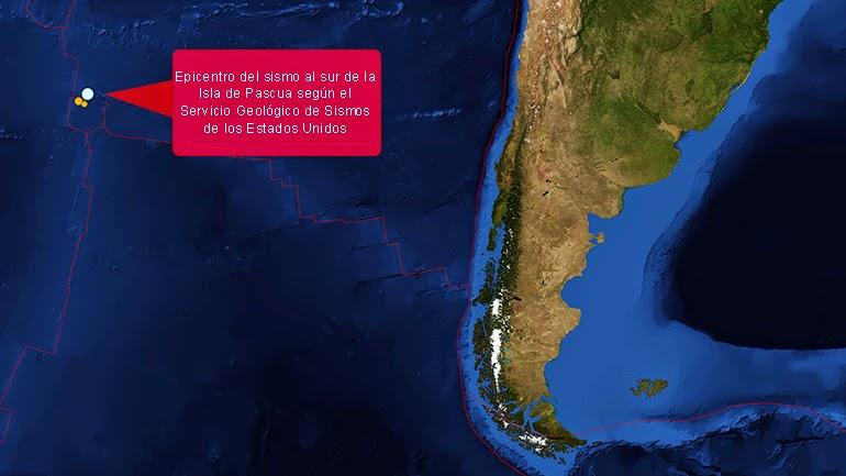 Epicentro sismo 7,1 grados sacude la isla de Pascua, 09 de Octubre 2014