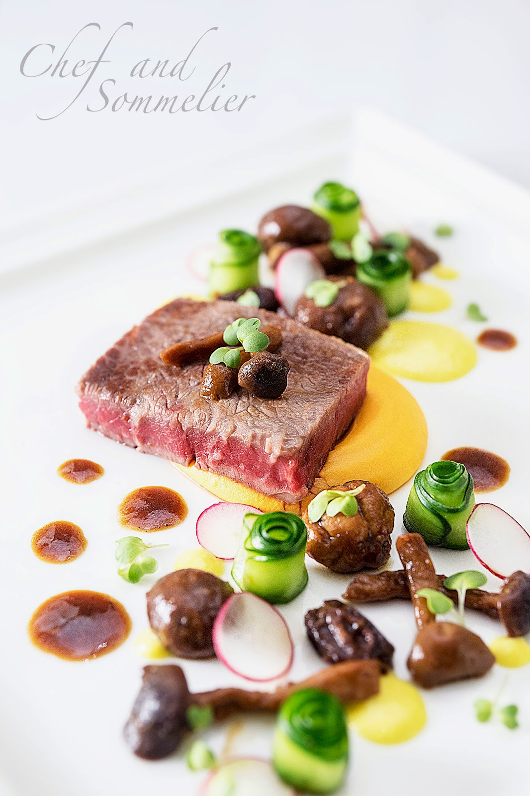 Chef and sommelier wagyu steak with braised chestnut and for What is sweet potato puree