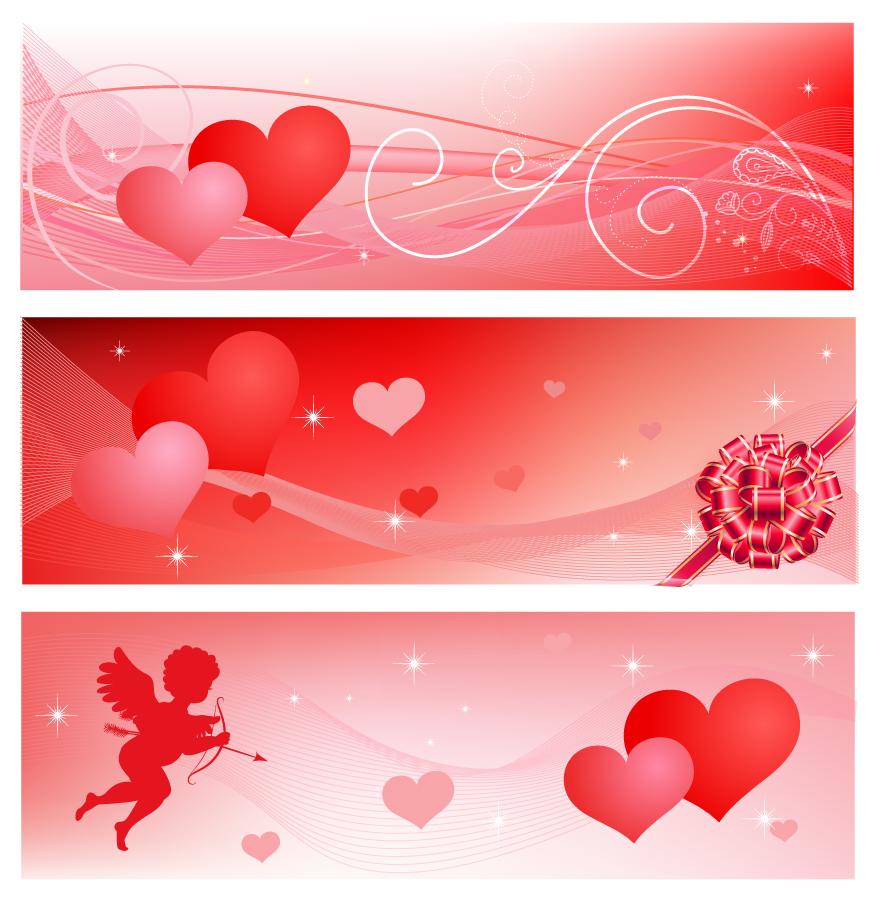 ハートのバレンタインデー バナー Heart Valentine's banners set イラスト素材