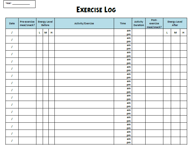 workout sheet
