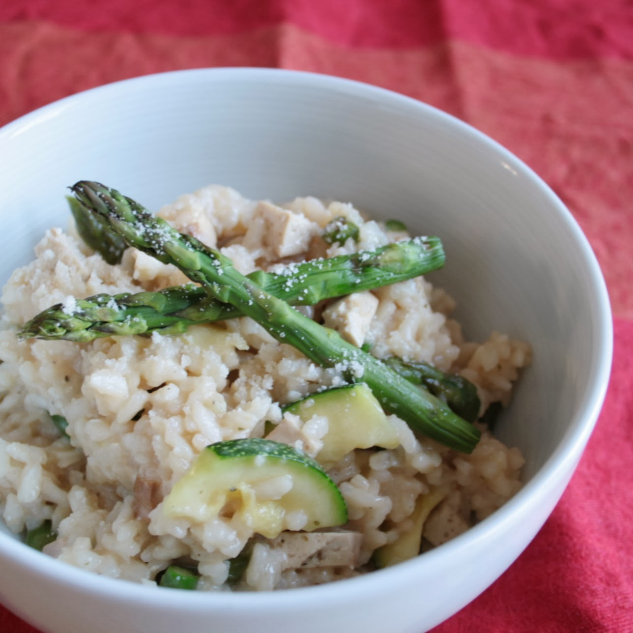 Asparagus courgette and smoked tofu risotto is perfect comfort food that is still healthy!