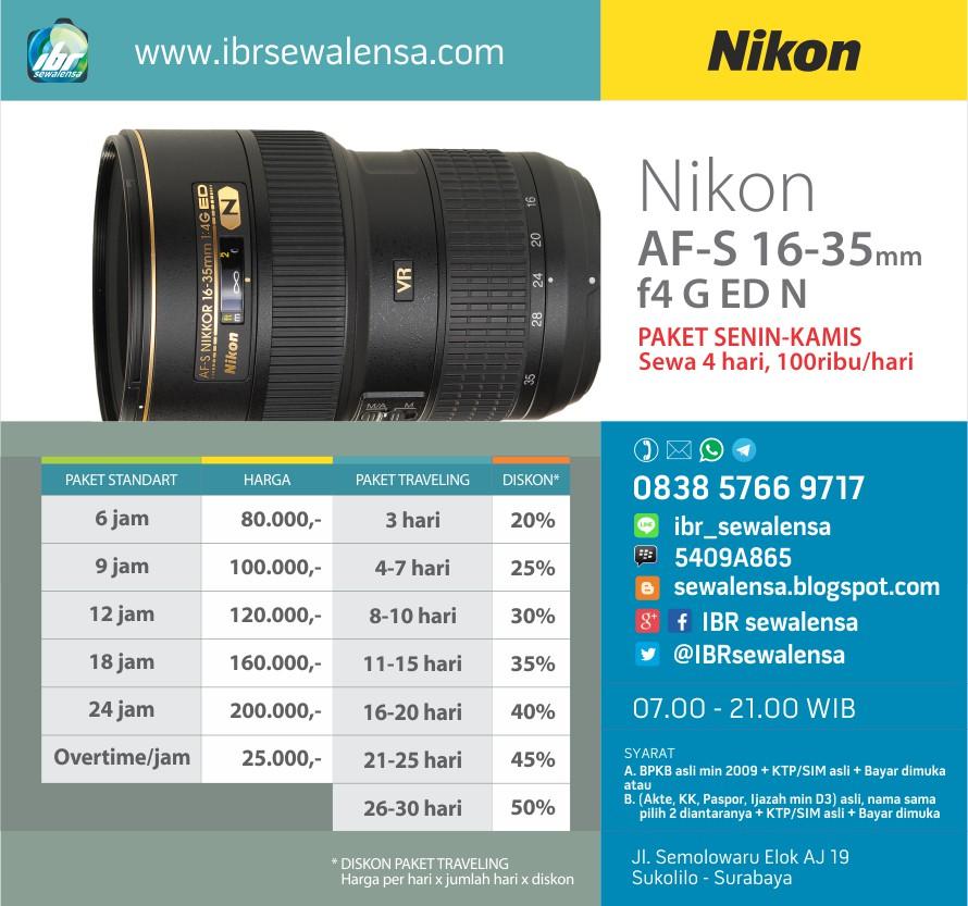 Sewa Rental lensa Nikon AF-S 16-35mm f4G ED N