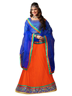 Orange & Blue Net Lehenga With Brocade Choli