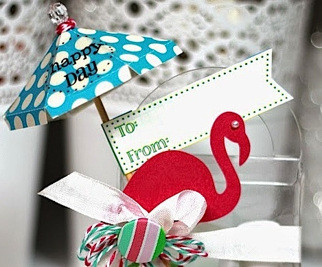 SRM Stickers Blog - Flamingo Party Favor by Shantaie - #clearpurse #twine #stickers #labels #clearcontainers #lifeisgood #sentiments #partyfavors #favors