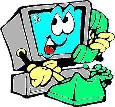 Cartoon - computer on the phone