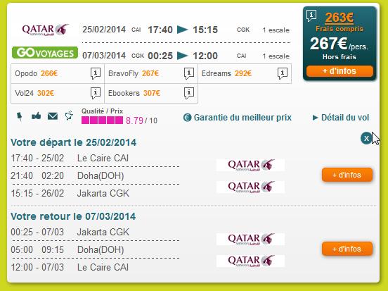 Qatar Airways Réservation Le Caire Jakarta