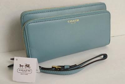 COACH Leather Double Accordion Zip Wallet 48026