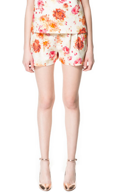 zara shorts spring 2013 flowers