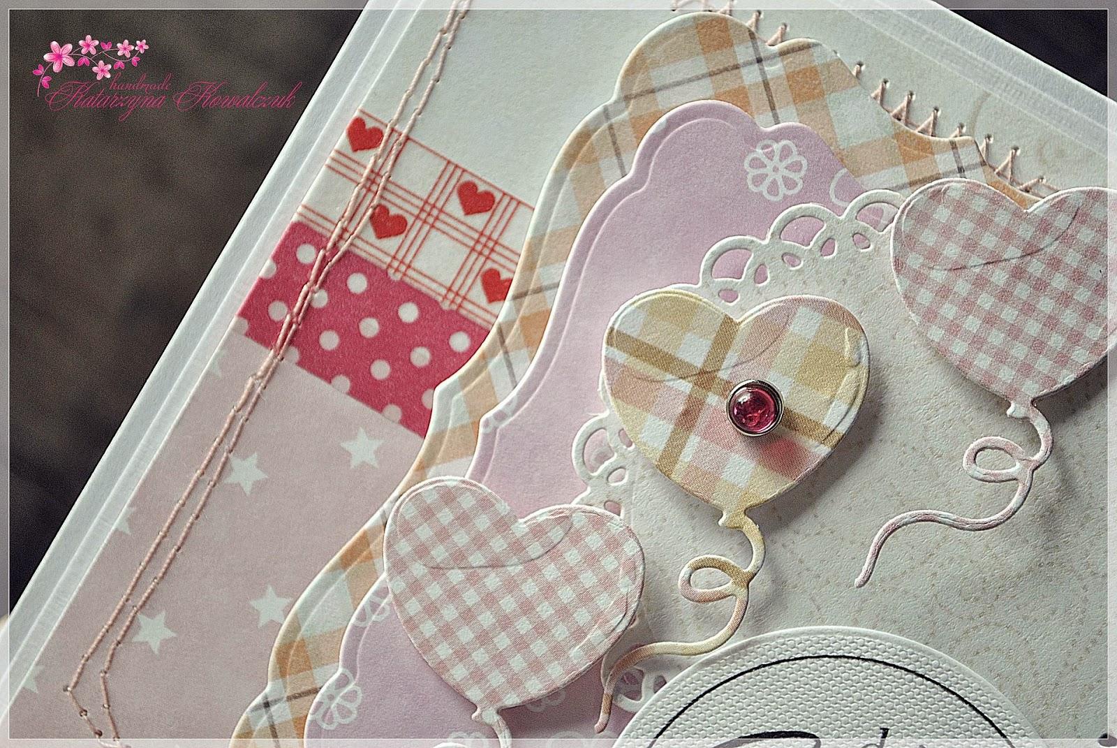 kartka dla dziecka z balonikami scrapbooking