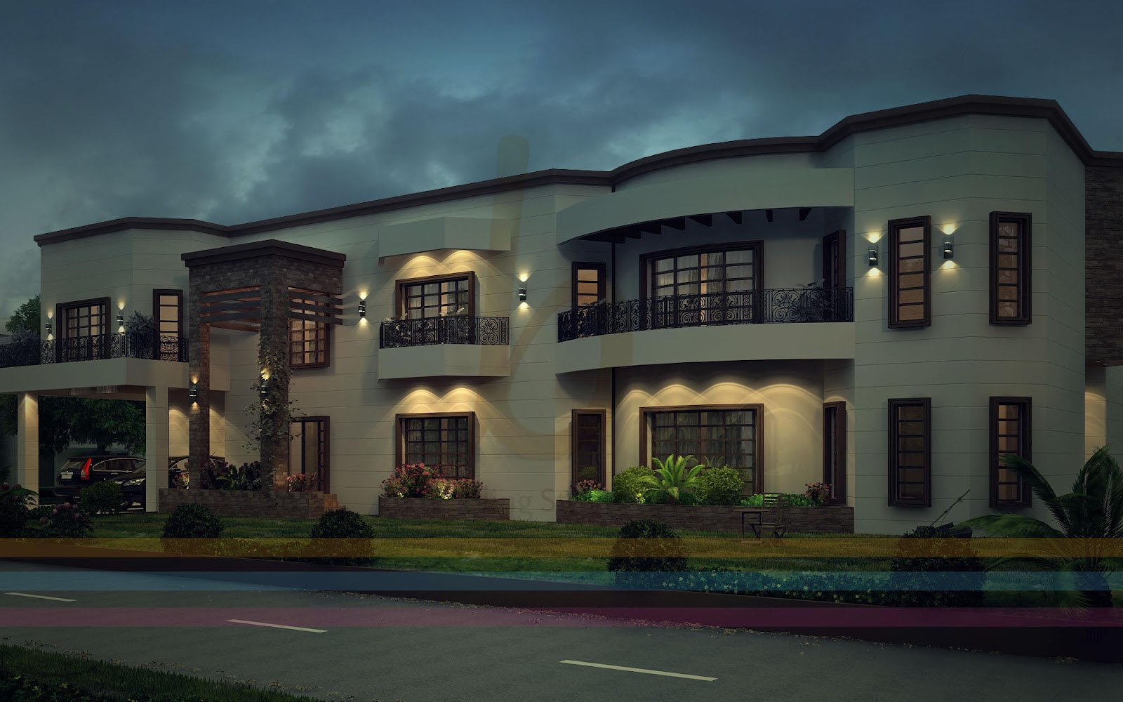 ... Kanal Modern Contemporary House Design 3D Front Elevatin Pakistan