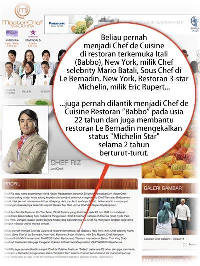 Gambar Chef Riz Tipu MasterChef Malaysia Tentang Pengalaman Masakan