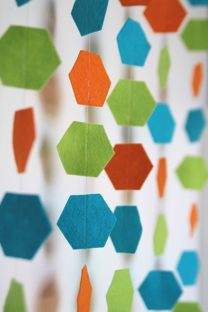 hexagon felt garland