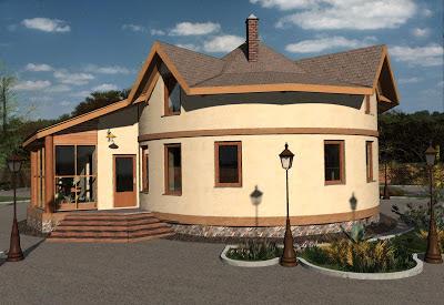 Проект Круглый соломенный дом с зимним садом.