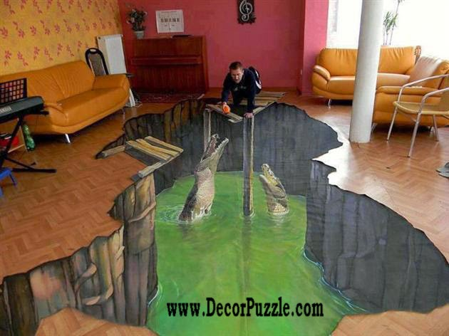 3d floor art mural and self-leveling floor, living room flooring ideas 2015