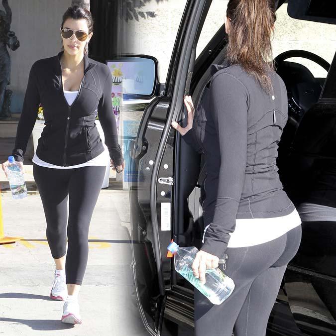 Fotos: Kim Kardashian bunda (Leggins) chegando em academia
