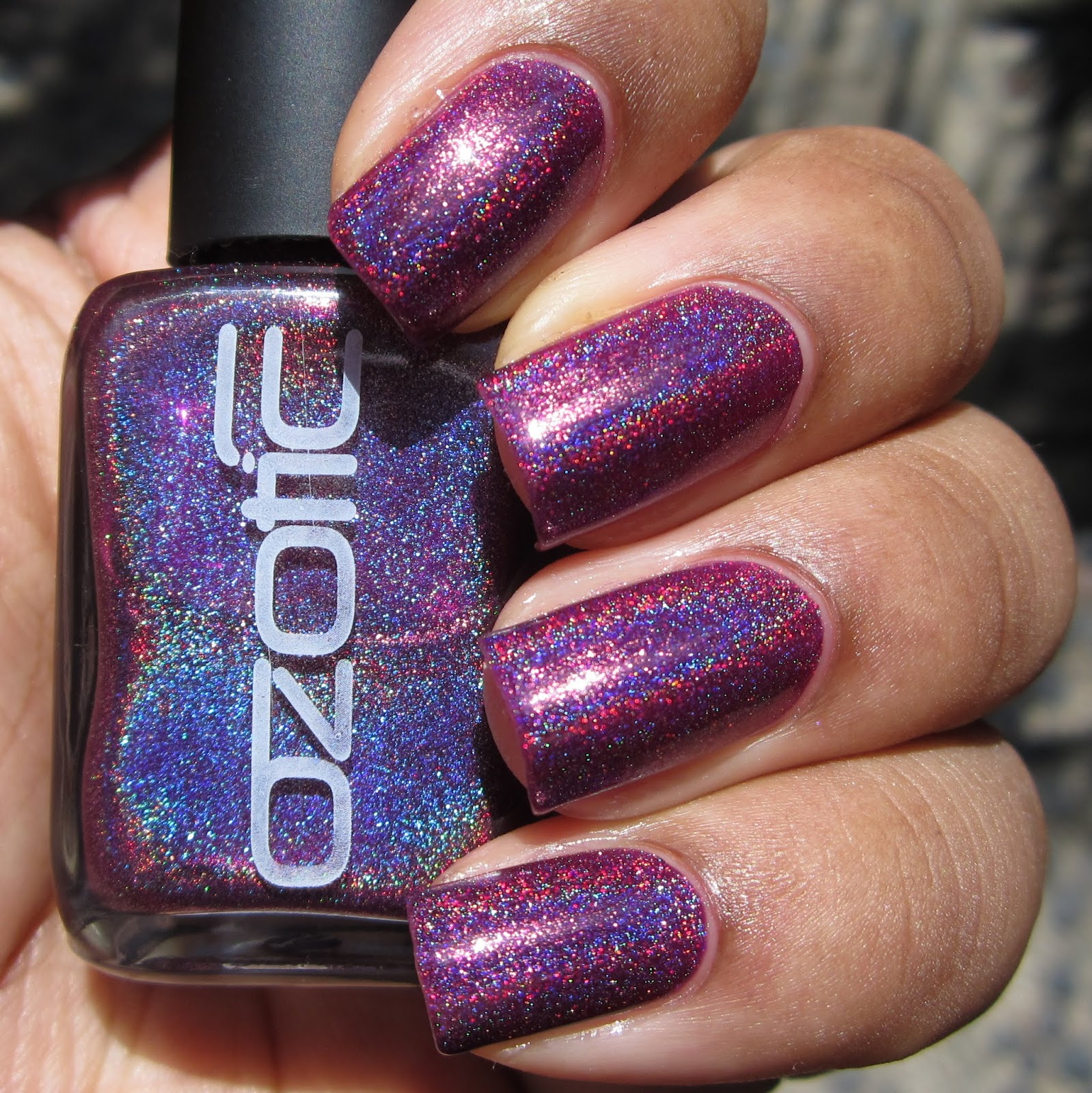 Ozotic Pro 513 purple holo nail polish swatch