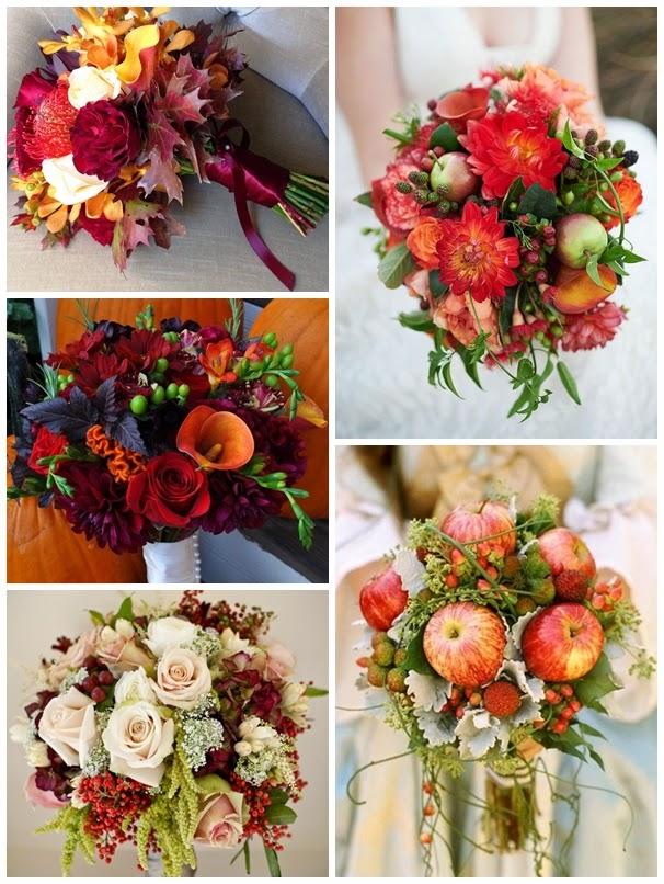 alma csokor bogyók rózsa menyasszonyi őszi színek