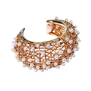 Vintage 1980's gold Chanel basket weave cuff covered with pearls.