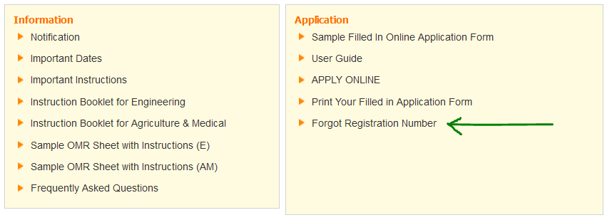 eamcet registration number recover procedure