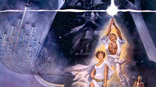 Pôster do filme Star Wars, com Luke Skywalker, a princesa Leia, o robô C3PO e o mal encarnado Darth Vader