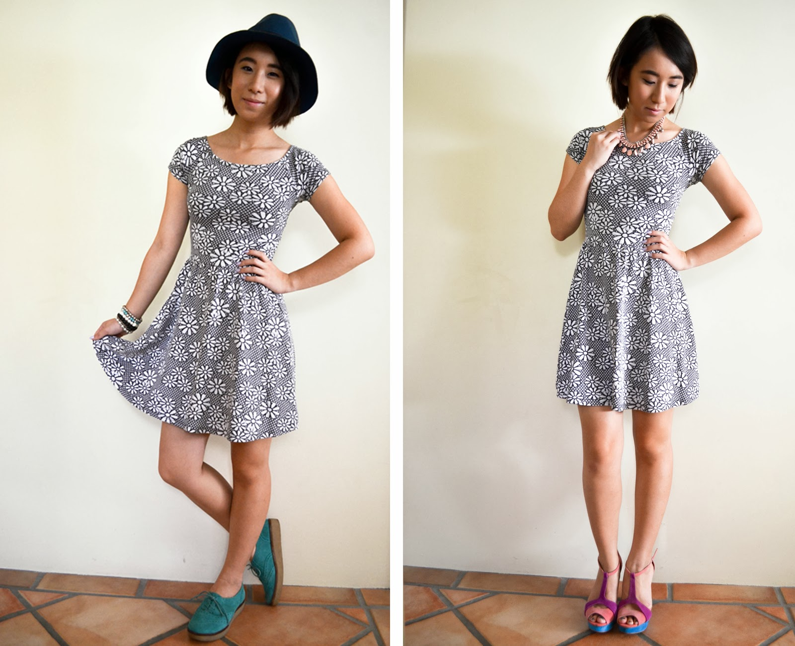 outfit day night look dress floral casual formal heels blue pink