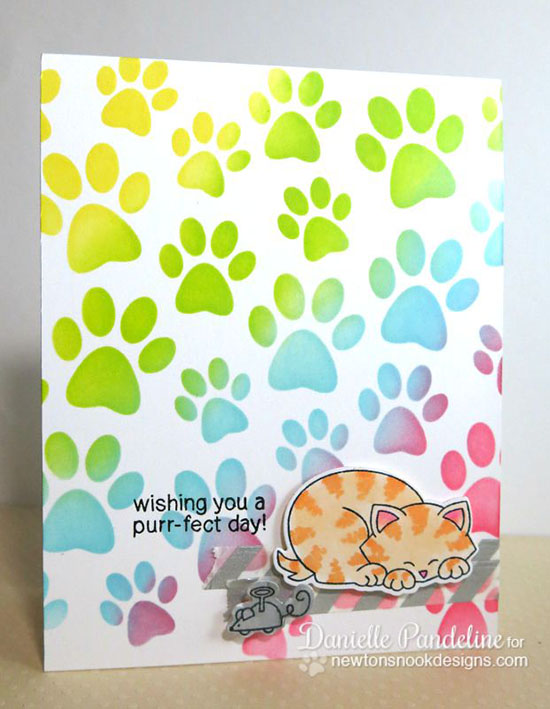 Cat Rainbow card by Danielle Pandeline | Newton's Antics stamp set & Die set by Newton's Nook Designs #cat #stamps #newtonsnook
