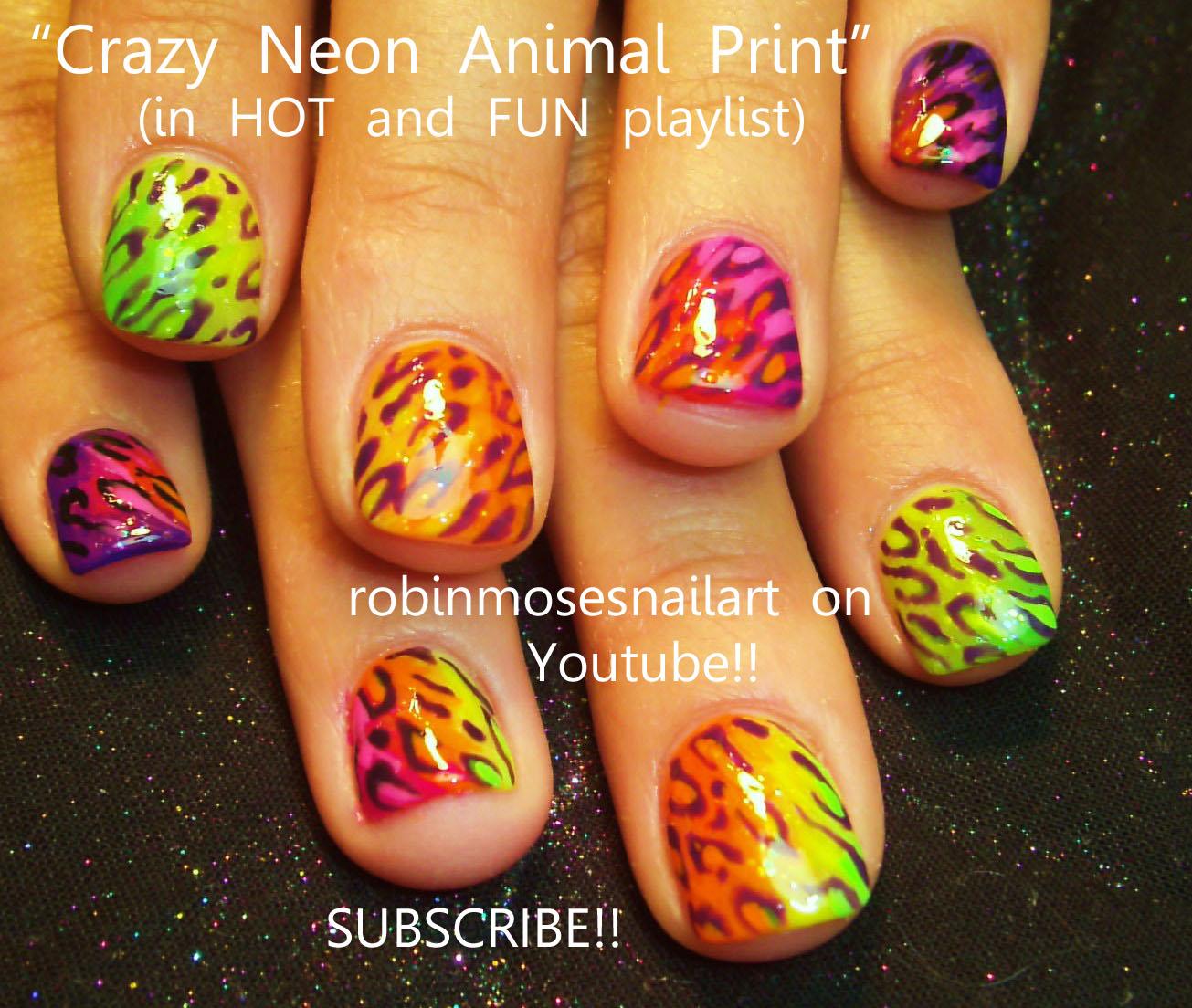 Nail Art Design: crazy neon animal print nail, neon animal print ...