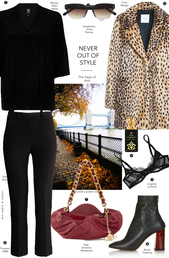 Styling bow-tie blouse, animal prints and cropped trousers, London-inspired / via www.look-a-porter.com style & fashion blog