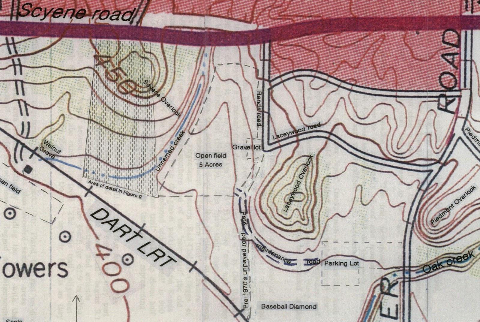 Geologic Map San Jose Quadrangle%0A Hutchins quadrangle annotated with Scyene  Laceywood and Piedmont  Overlooks  Map credit Tim Dalbey