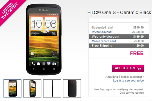 T-Mobile Offers HTC One S (Ceramic Black) For Free