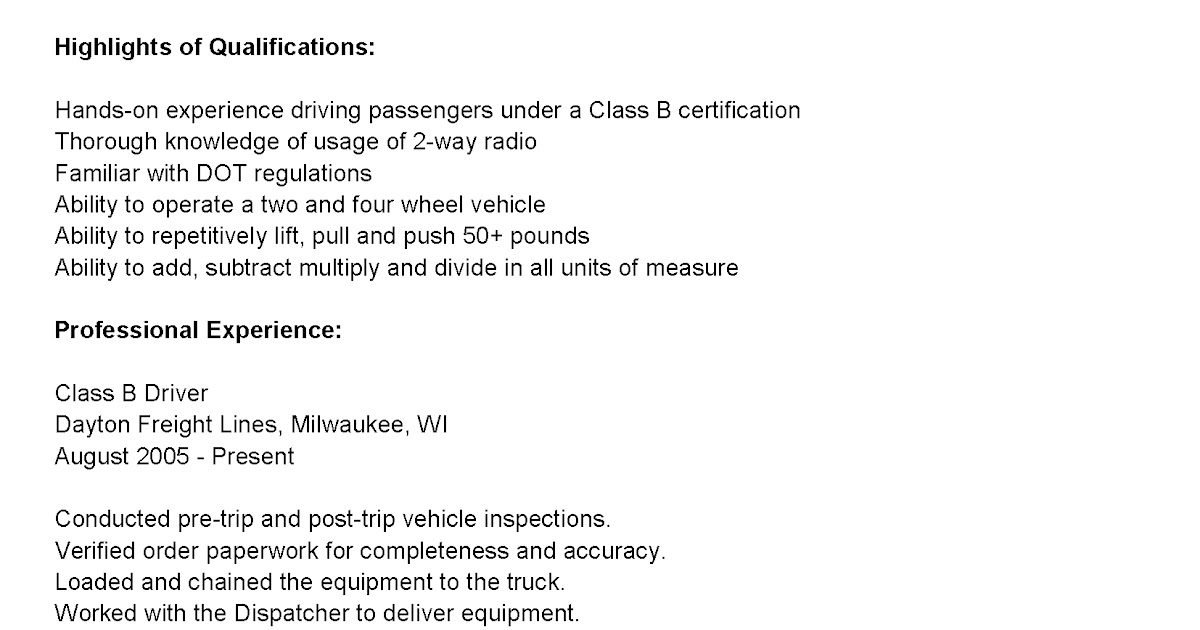 driver resumes class b driver resume sle