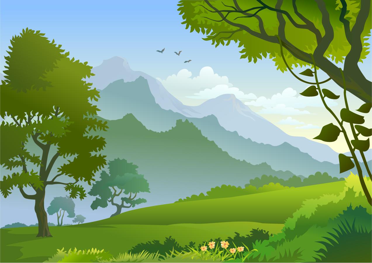 free vector がらくた素材庫: 山並みを望む森林の風景 forest