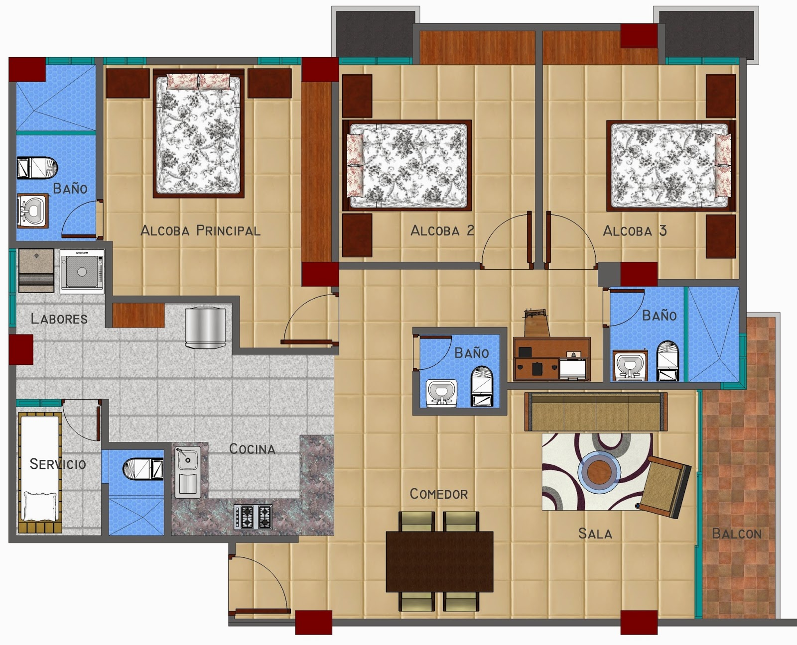 Planos apartamentos edificio chelsea for Planos de cocina sala comedor