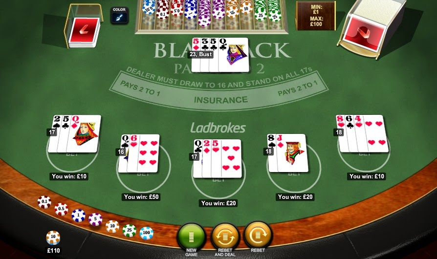 Ladbrokes Blackjack Screen