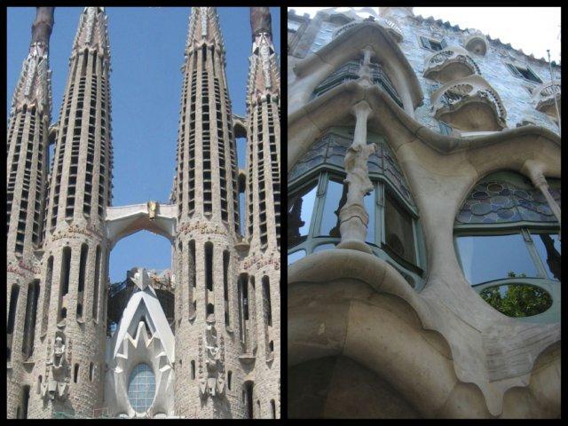 La Sagrada Familia y la Casa Batlo de Gaudi en Barcelona