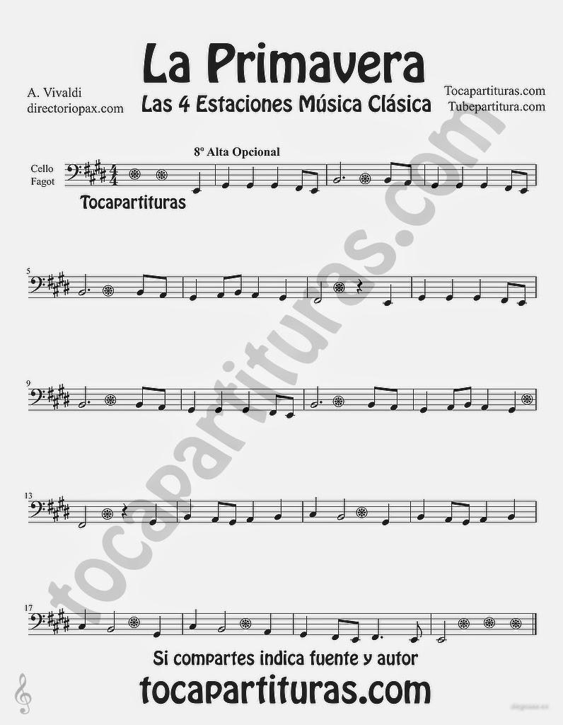 """Tubepartitura La Primavera de Antonio Vivaldi Partitura para Chelo y Fagot """"Las Cuatro estaciones de Vivaldi"""""""