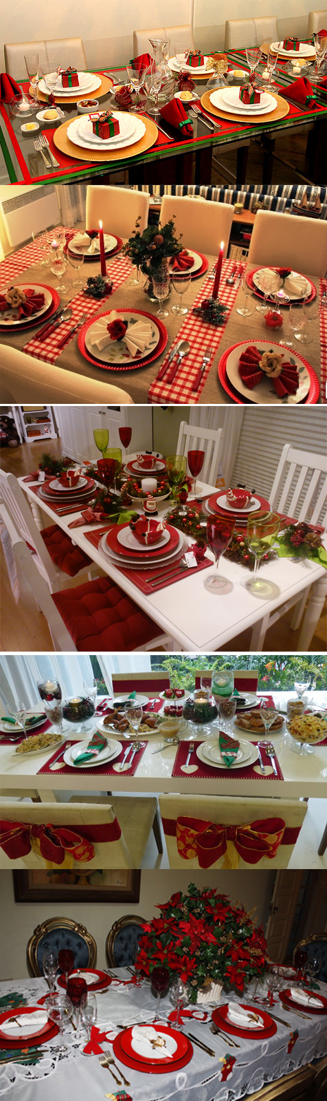decorando mesa para o natal